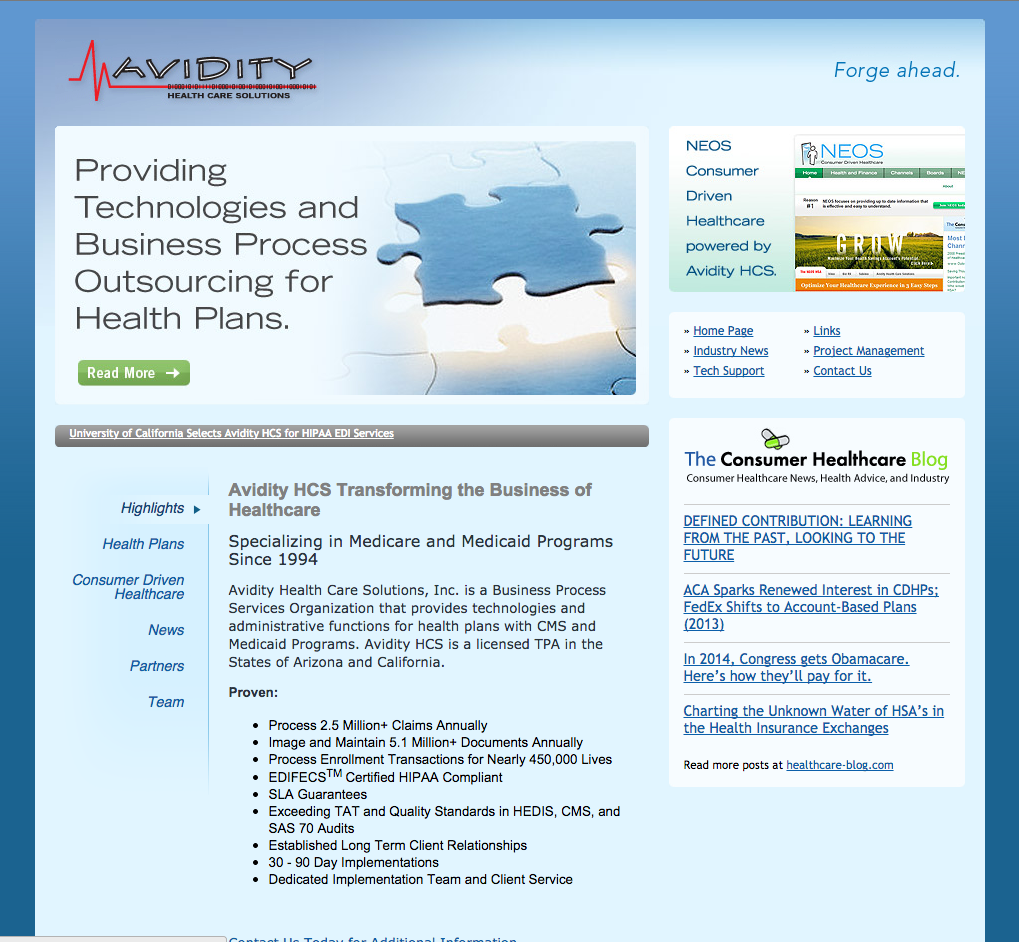 Avidity HCS Launches New Website